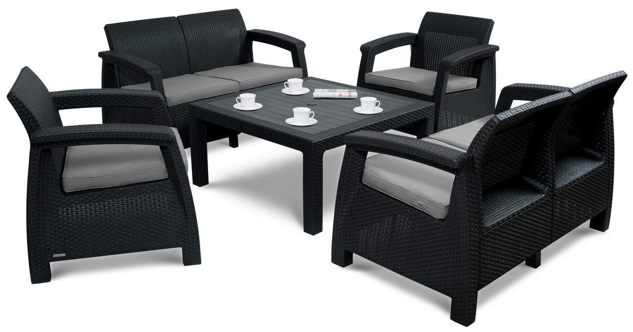Záhradný nábytok KAREN CORTE 6 s voliteľnou výškou stola Farba: antracitová