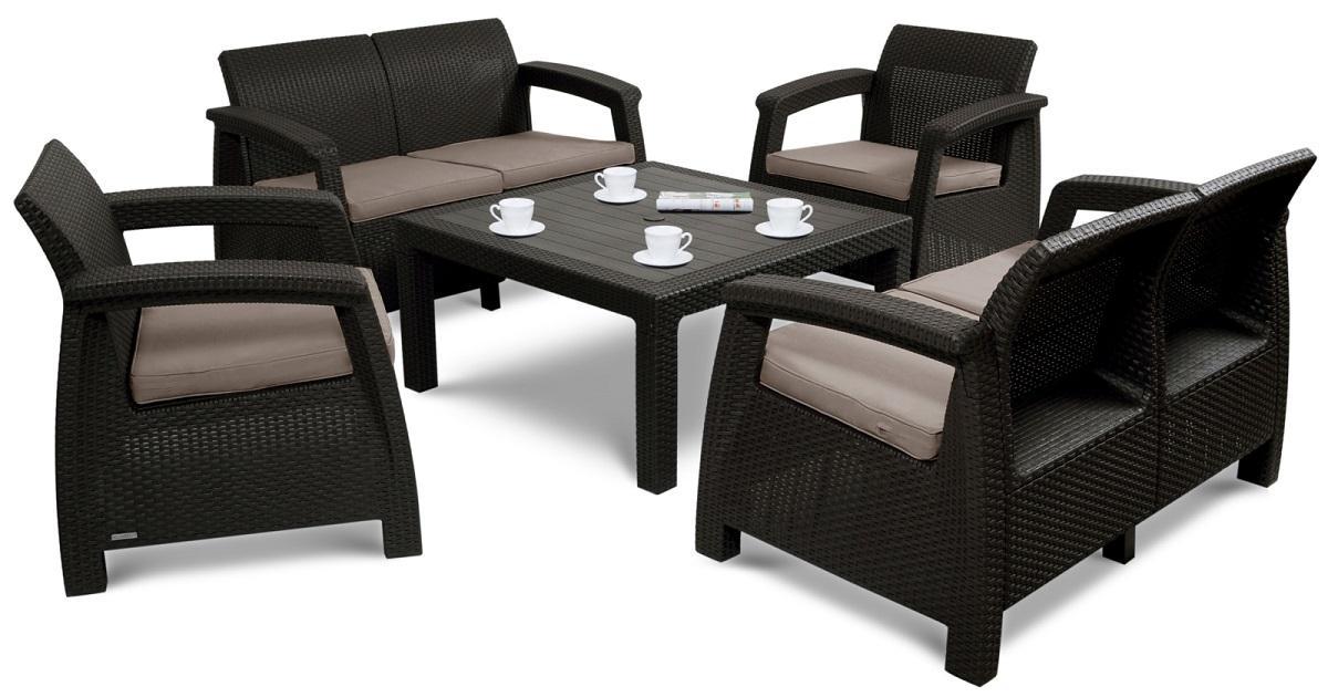 Záhradný nábytok KAREN CORTE 6 s voliteľnou výškou stola Farba: čokoládová