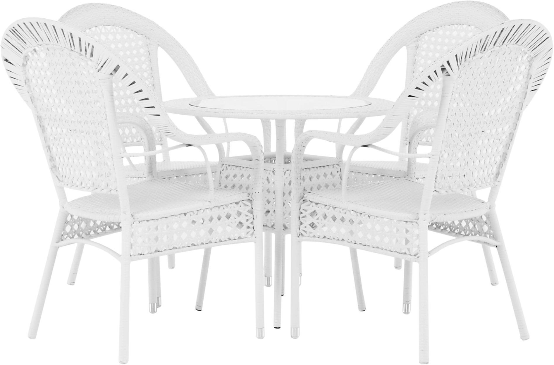 Záhradný set 1+4, biela, KOVEN