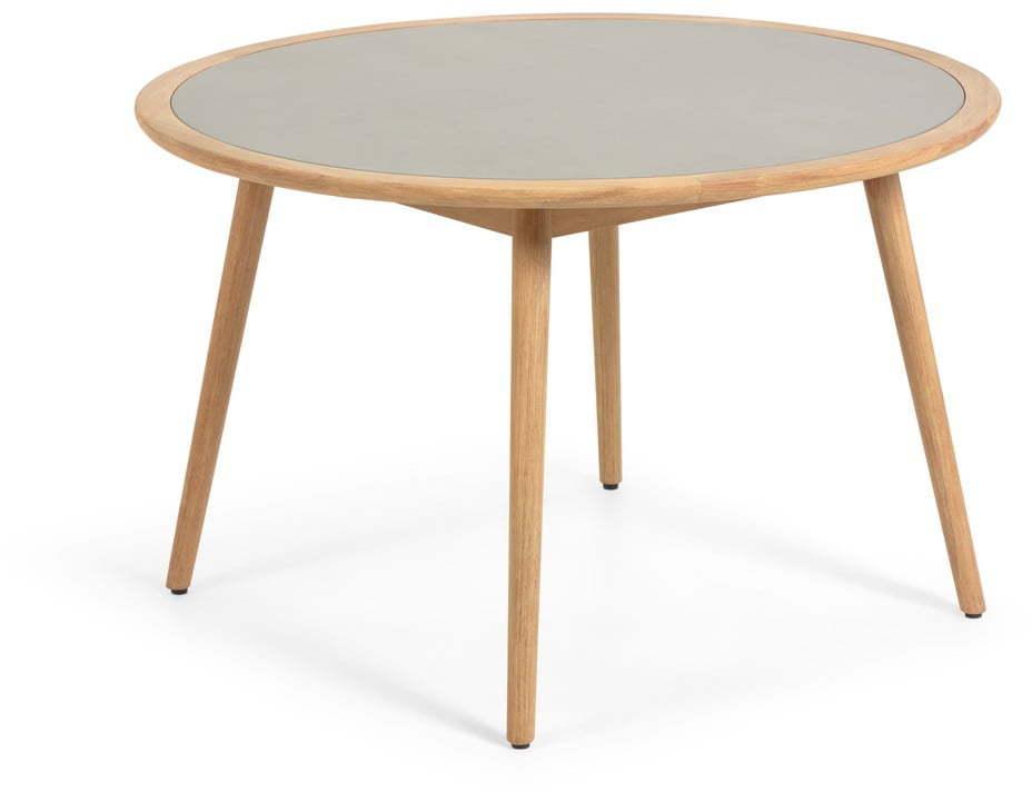 Záhradný stôl z eukalyptového dreva s betónovou doskou La Forma Glynis Nina, ⌀ 120 cm