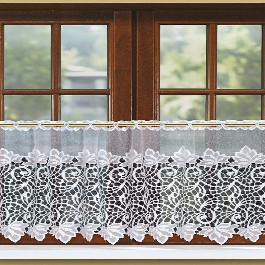 Žakarová záclona 31115 biela/45. Tovar na mieru