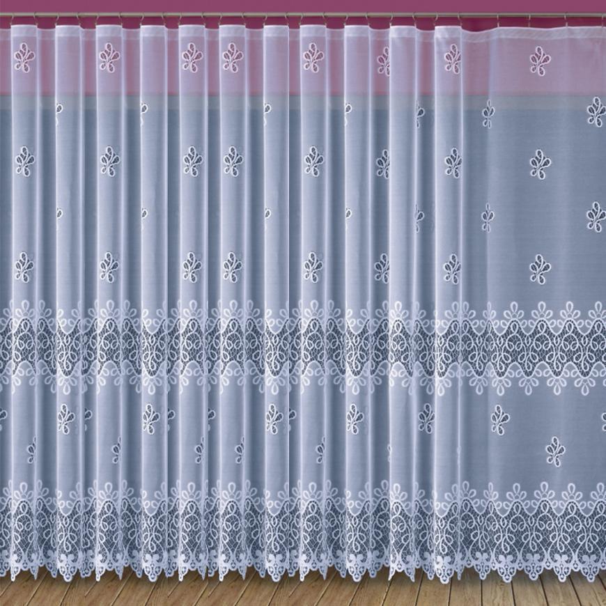 Žakarová záclona 682D11/160 biely. Tovar na mieru