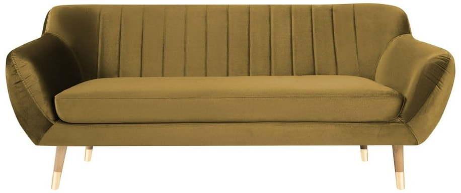 Zamatová pohovka v zlatej farbe Mazzini Sofas Benito, 188 cm