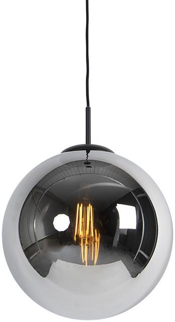 Závesná lampa v štýle art deco čierna s dymovým sklom 1-svetlo - Pallon