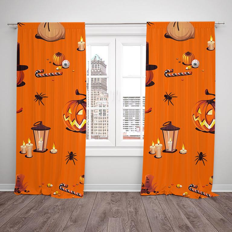 Závesy Halloween vzor 1 (Rozmer: 140x250, Materiál závěs: Blackout)