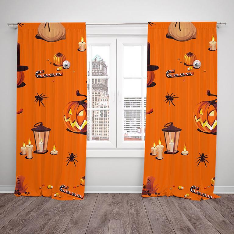 Závesy Halloween vzor 1 (Rozmer: 140x250, Materiál závěs: Interlock)