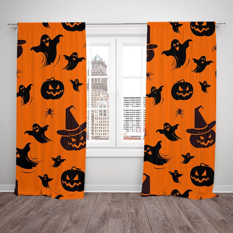 Závesy Halloween vzor 2 (Rozmer: 140x250, Materiál závěs: Interlock)