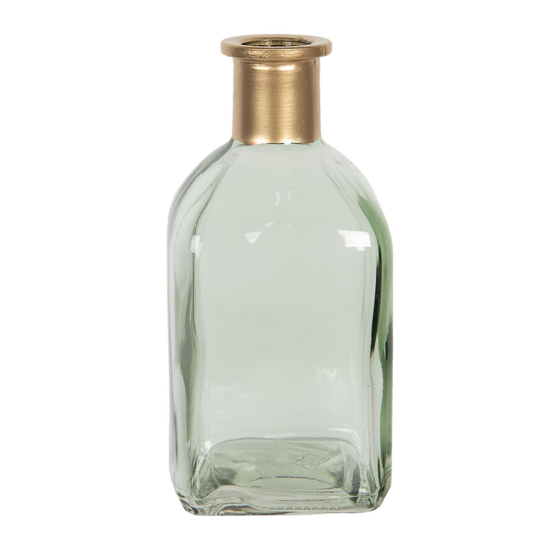 Zelená sklenená vázička so zlatým hrdlom Alifa - 6 * 6 * 13 cm