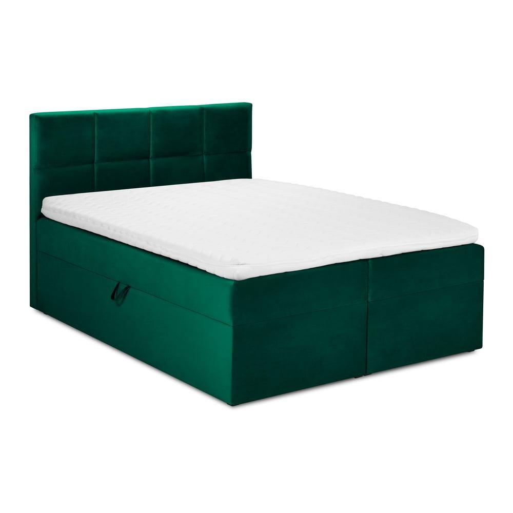 Zelená zamatová dvojlôžková posteľ Mazzini Beds Mimicry, 160 x 200 cm