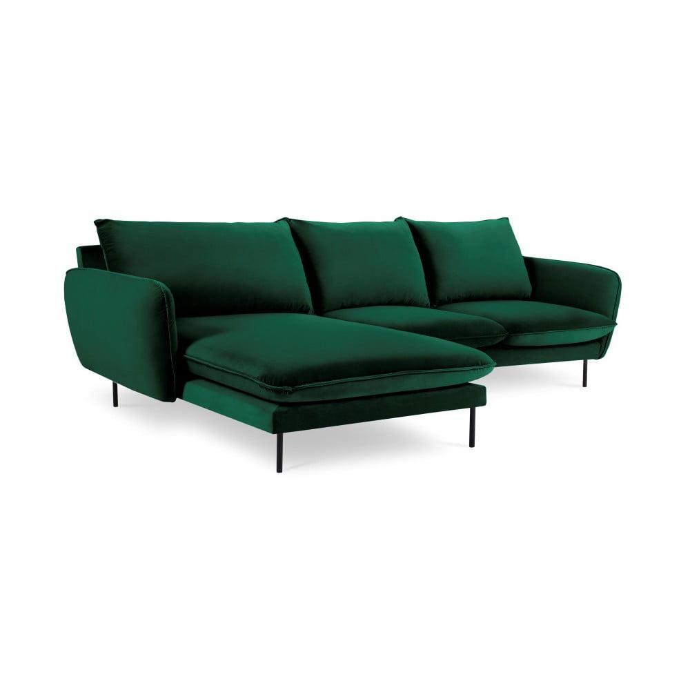 Zelená zamatová rohová pohovka Cosmopolitan Design Vienna, ľavý roh