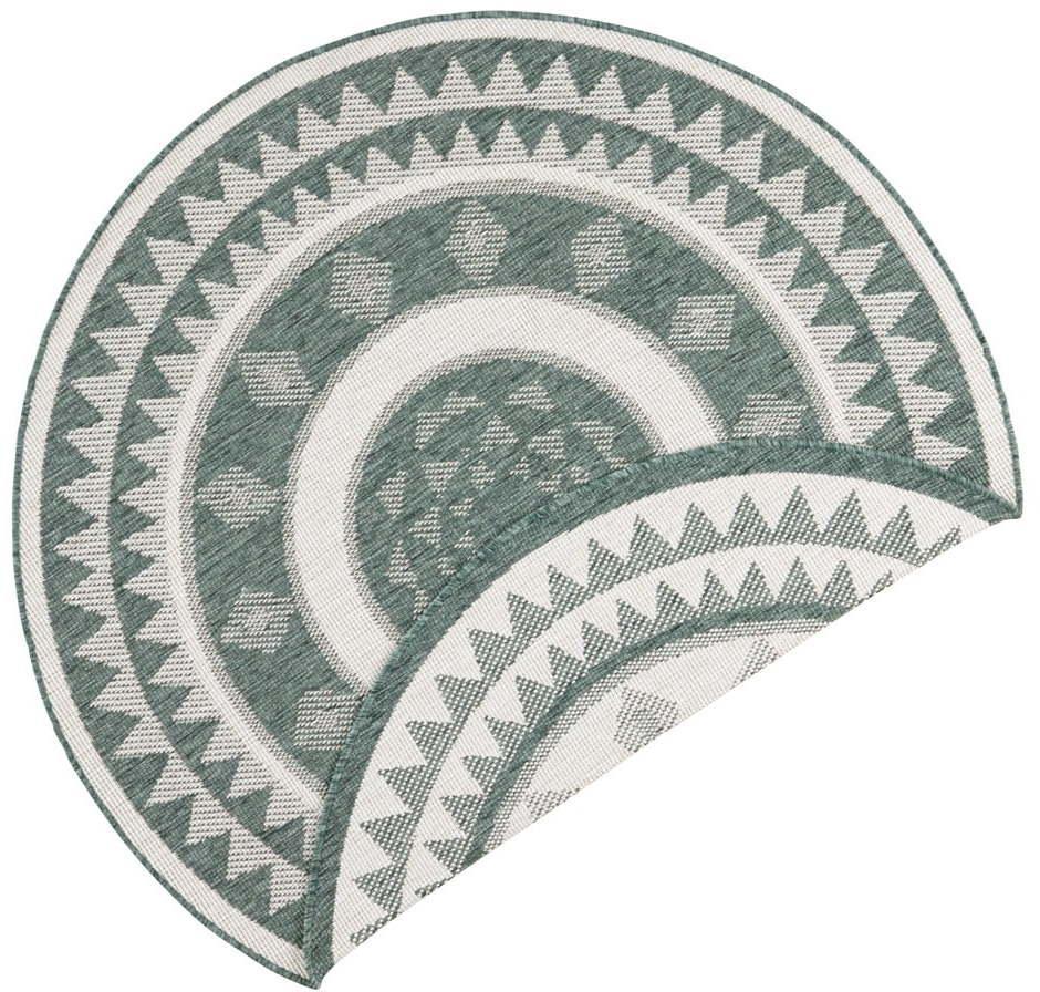 Zeleno-krémový vonkajší koberec Bougari Jamaica, ⌀ 140 cm