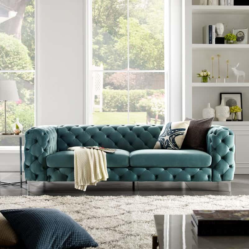 Zelenomodrá zamatová sedačka Modern Barock »