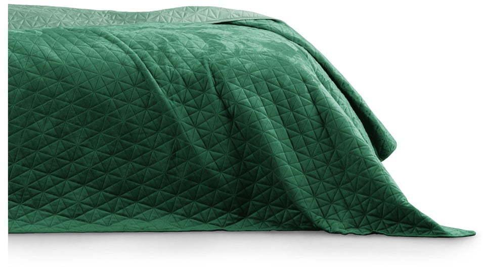 Zelený pléd cez posteľ AmeliaHome Laila Jade, 220 x 240 cm