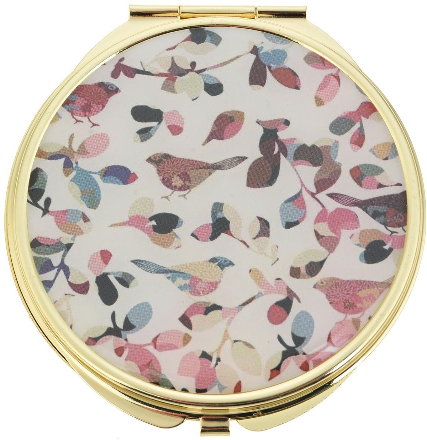 Zlaté príručný zrkadlo s vtáčikmi a listy - Ø 6 cm