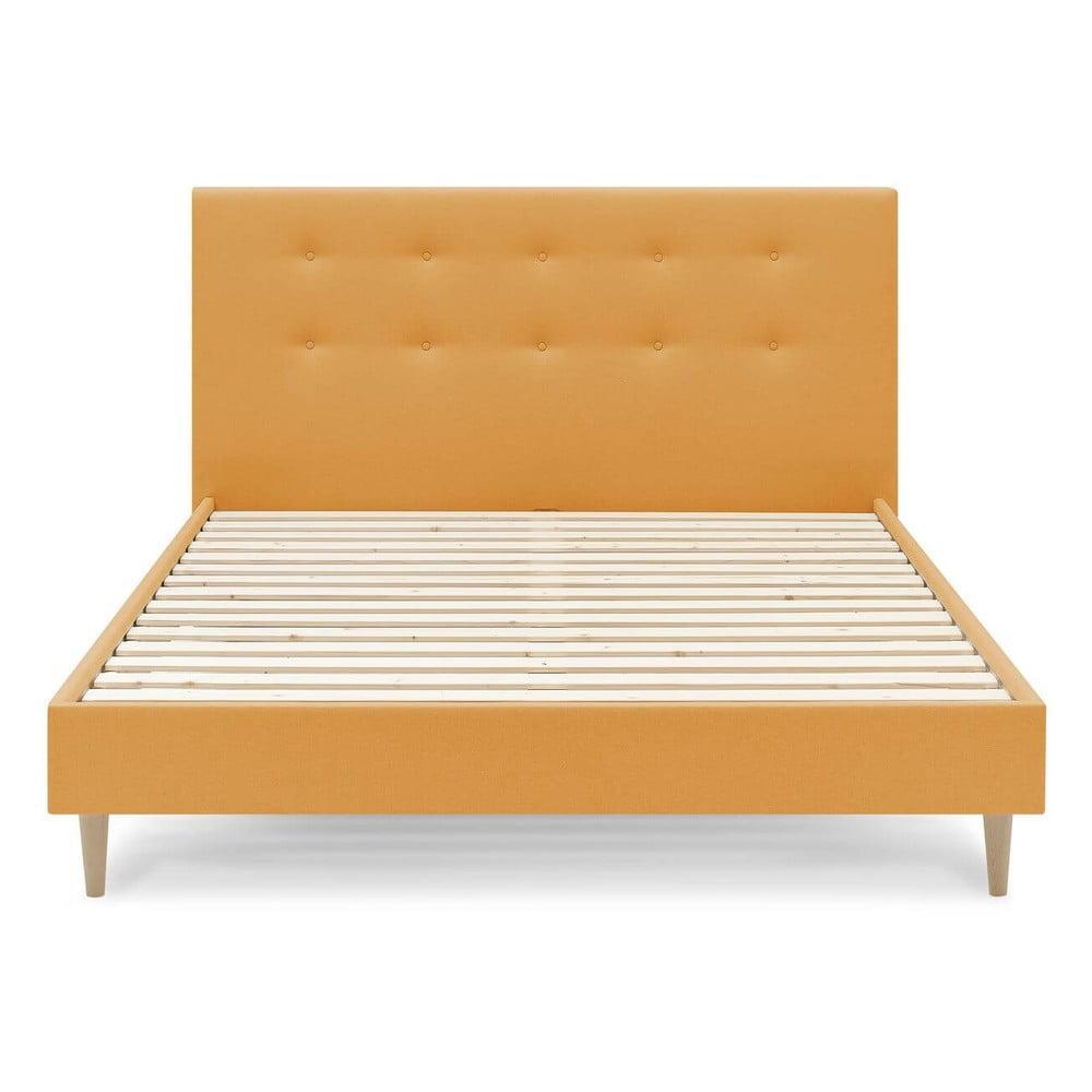 Žltá dvojlôžková posteľ Bobochic Paris Rory Light. 160 x 200 cm