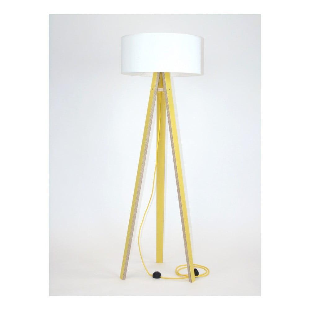Žltá stojacia lampa s bielym tienidlom a žltým káblom Ragaba Wanda