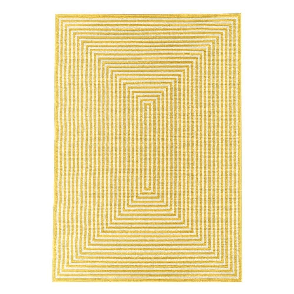 Žltý a umývateľný vonkajší koberec Braid, 200 × 285 cm