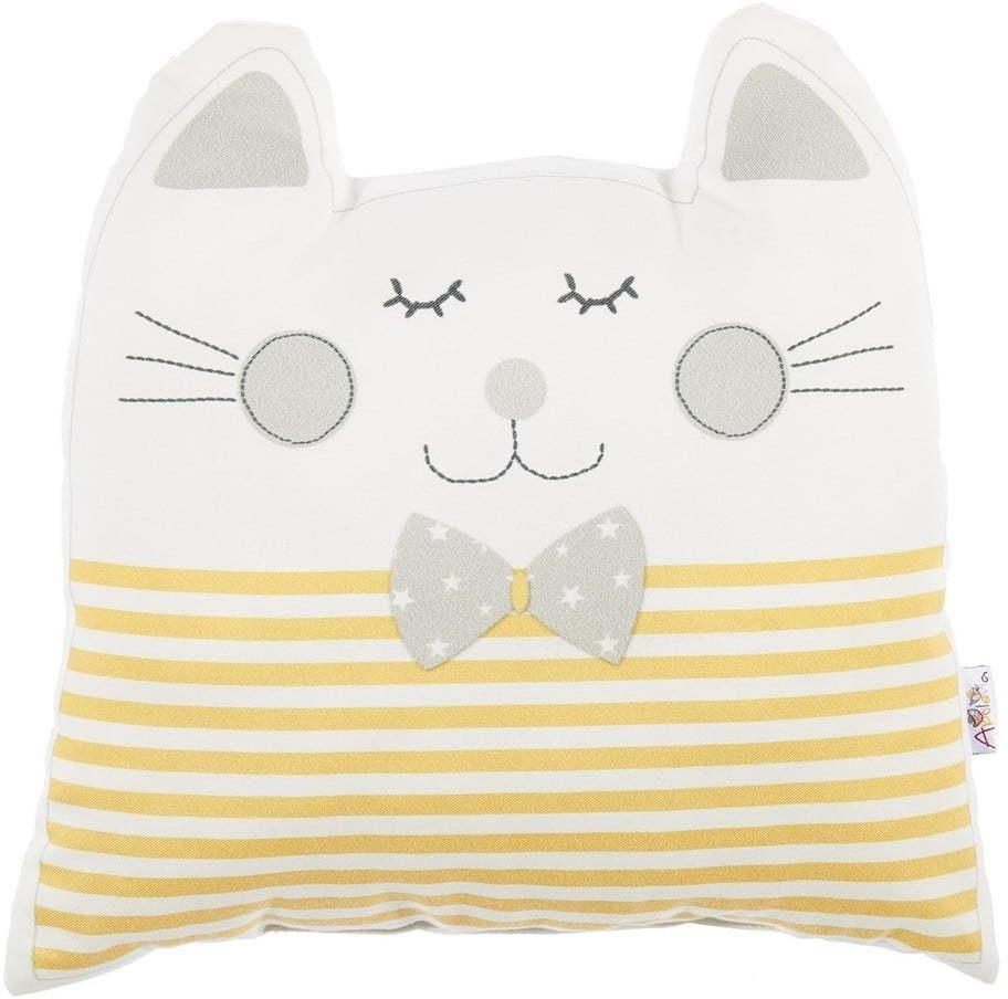 Žltý detský vankúšik s prímesou bavlny Mike & Co. NEW YORK Pillow Toy Big Cat, 29 x 29 cm