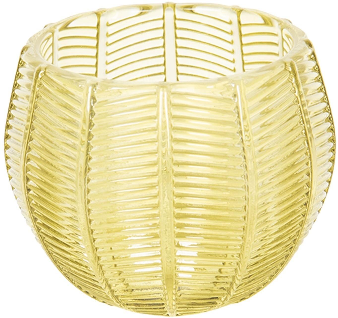 Žltý sklenený svietnik na čajové sviečky - ∅ 9 * 8 cm