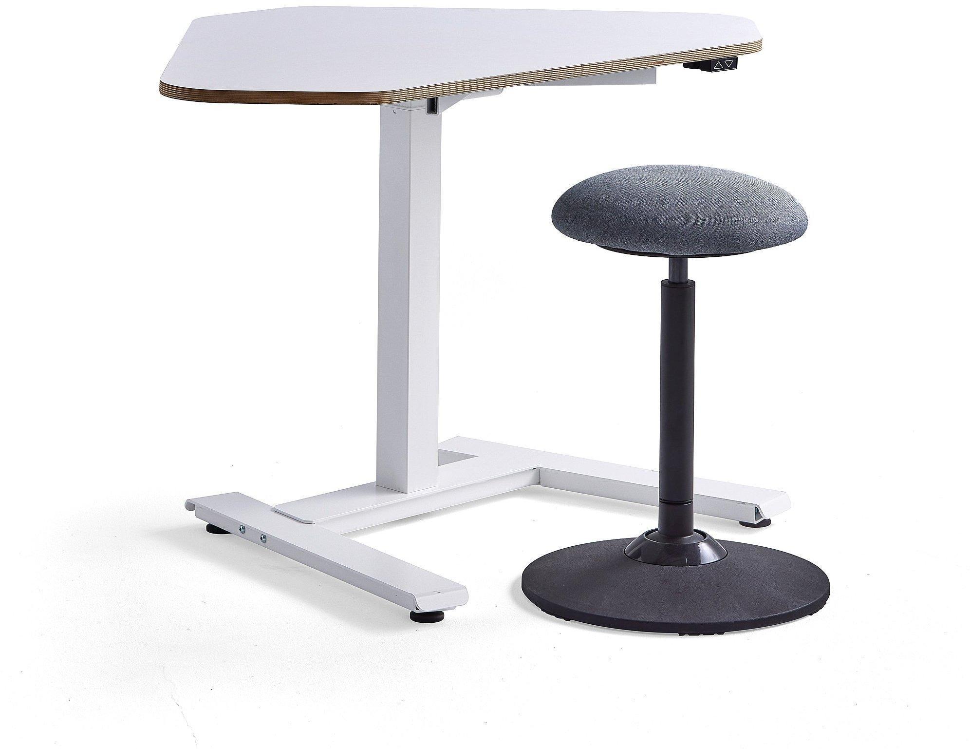 Zostava nábytku: 1 biely rohový stôl Novus + 1 stolička Acton
