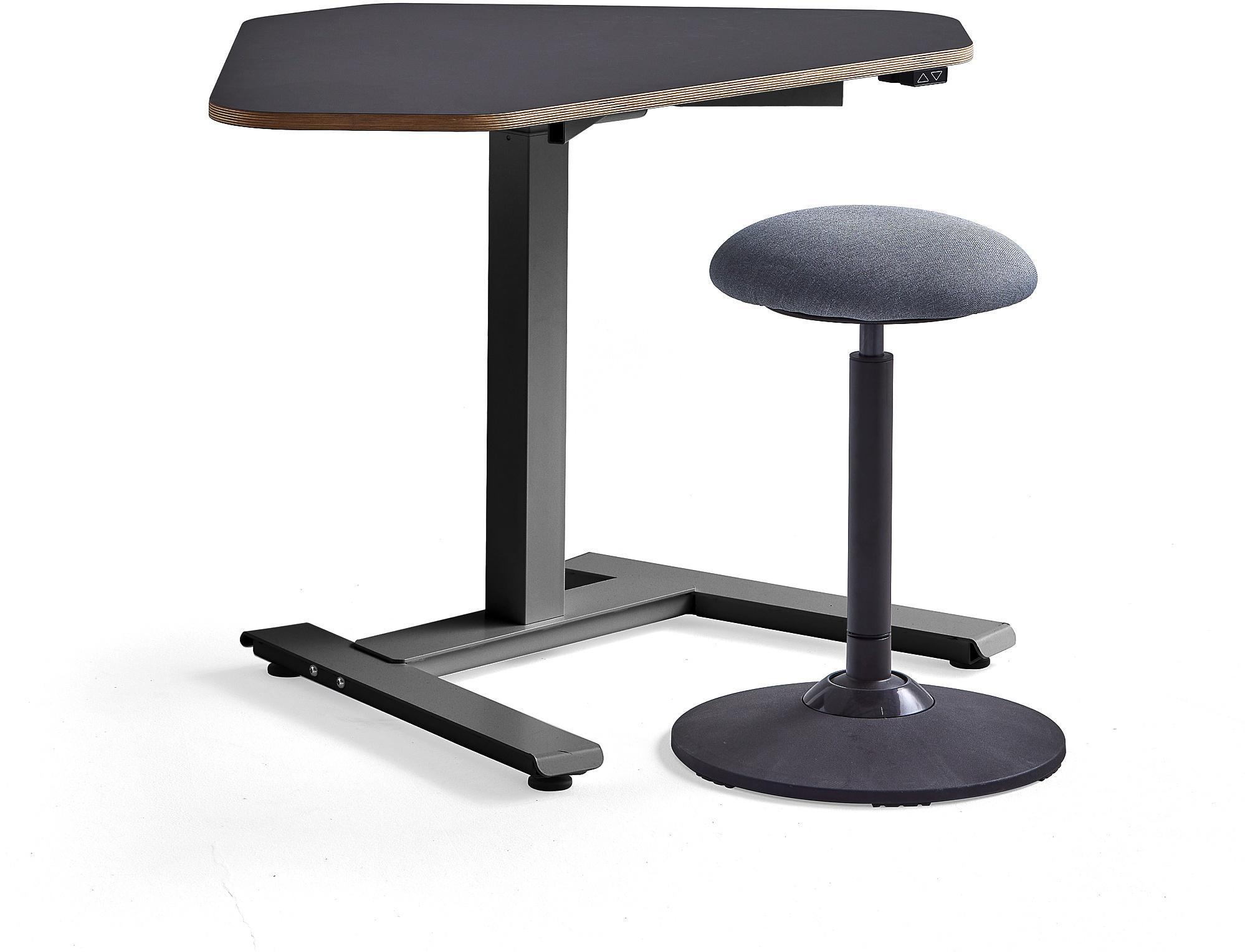 Zostava nábytku: 1 čierny rohový stôl Novus + 1 stolička Acton