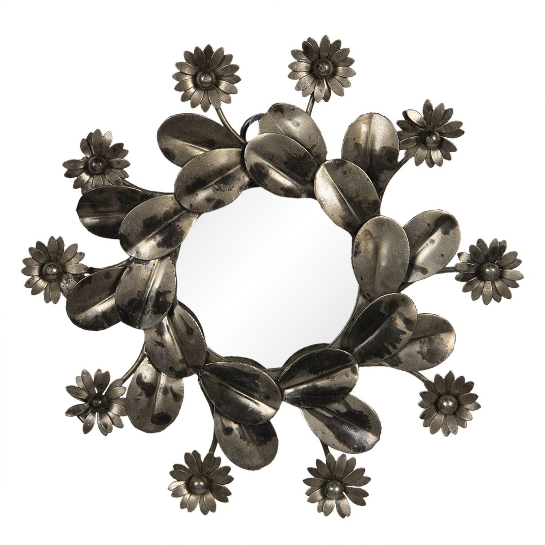 Zrkadlo s kovovým rámom s kvetinami - Ø 15 * 2 cm