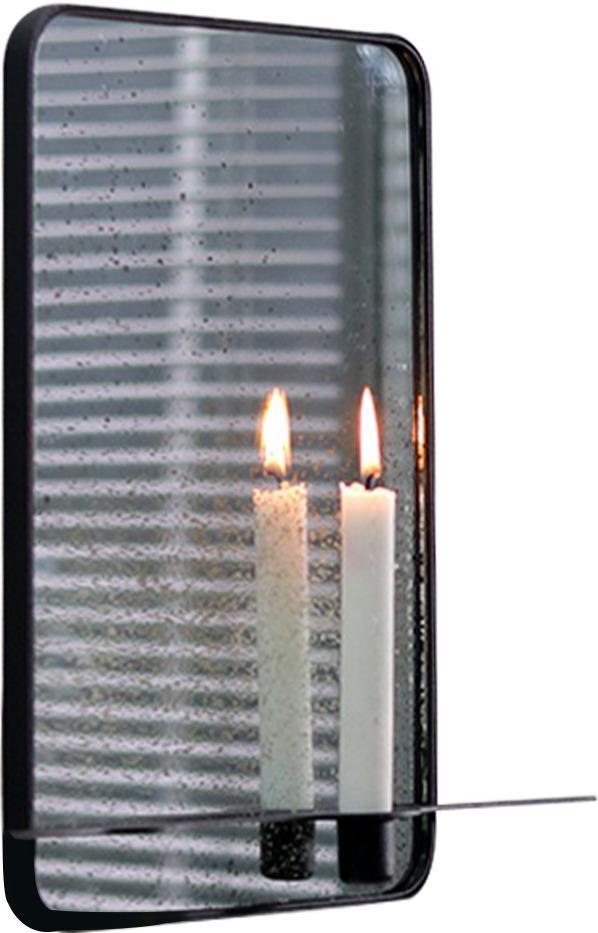 Zrkadlo so stojanom na 2 sviečky, patinované, čierny kovový rám, FIVER