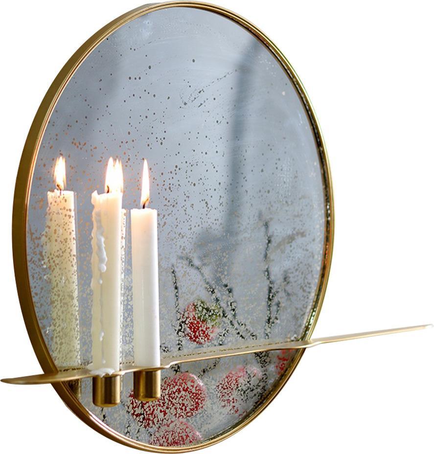 Zrkadlo so stojanom na 2 sviečky, patinované, zlatý kovový rám, HAREO TYP 2